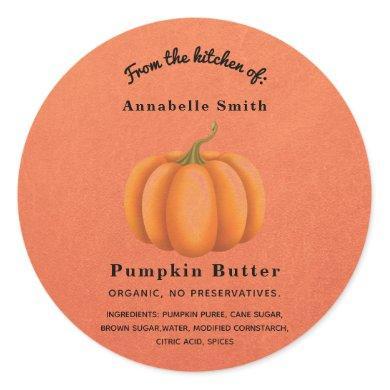 Pumpkin Spice Orange Fall Custom Personalized Jar Classic Round Sticker