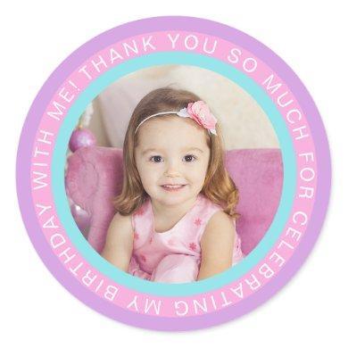 Purple Pink Kids Photo Birthday Thank You Classic Round Sticker