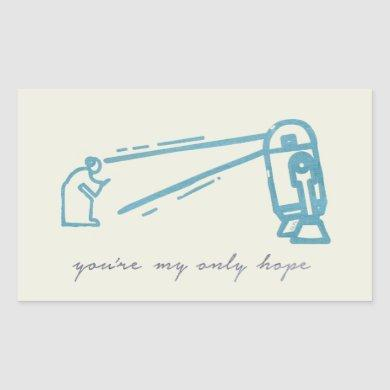 R2-D2 Projecting Leia Outline Graphic Rectangular Sticker