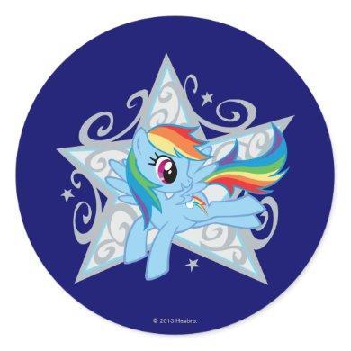 Rainbow Dash Star Classic Round Sticker