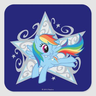 Rainbow Dash Star Square Sticker