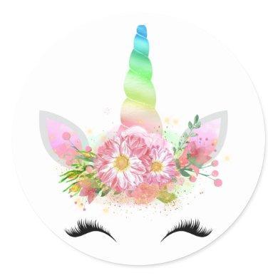 Rainbow Unicorn Face Stickers