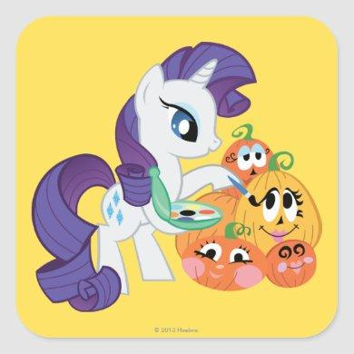 Rarity Painting Pumpkins Square Sticker