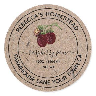 Raspberry Jam Kraft Paper Canning Jar Labels