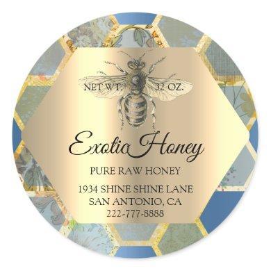 Raw Honey Jar Honeybee Honeycomb Bee Apiary Blue Classic Round Sticker