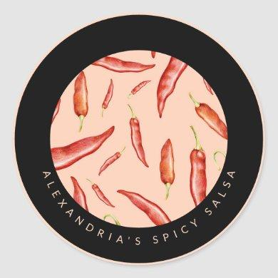 Red Chili Pepper | Your Personalized Spicy Salsa Classic Round Sticker