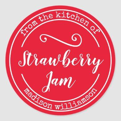 Red From the Kitchen of | Preserve Jam Label