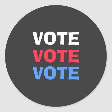Red White And Blue Vote Election Political Classic Round Sticker