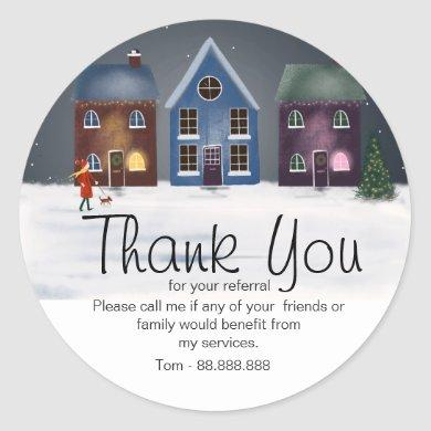 Referral Real Estate Thank You business Square Sti Classic Round Sticker