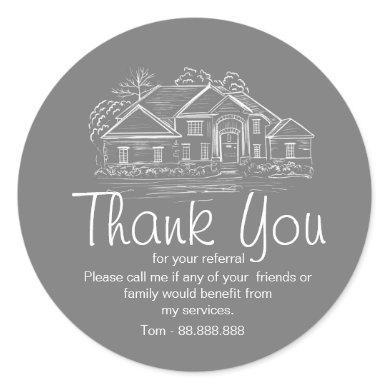 Referral Real Estate Thank You business Square Sti Classic Round Sticker