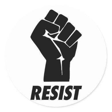 resist fist classic round sticker