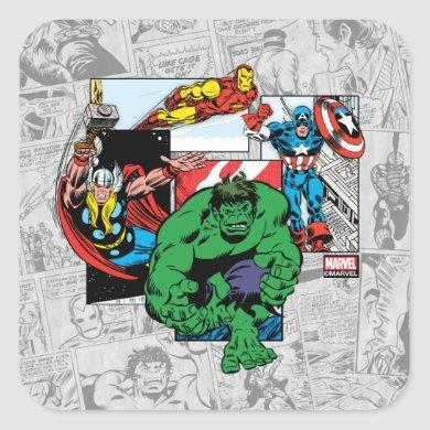 Retro Avengers Emerge From Comic Panels Square Sticker