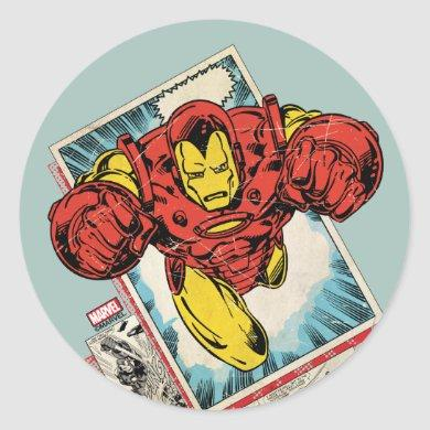 Retro Iron Man Flying Out Of Comic Classic Round Sticker