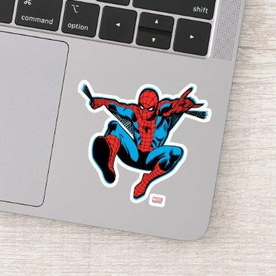 Retro Spider-Man Web Shooting Sticker