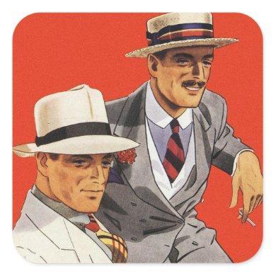Retro Vintage Kitsch 20s Men's Fashion Ad Art Square Sticker