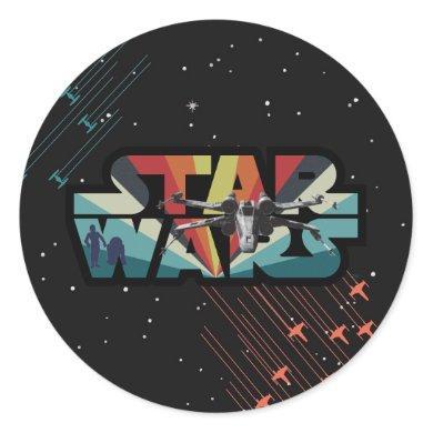 Retro X-Wing Starburst Star Wars Logo Classic Round Sticker
