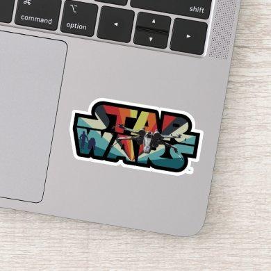 Retro X-Wing Starburst Star Wars Logo Sticker