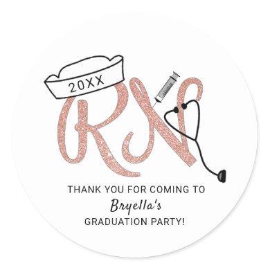 RN nurse graduation party thank you favor idea Classic Round Sticker