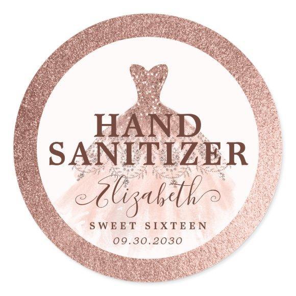 Rose Gold Glitter Dress Birthday Hand Sanitizer Classic Round Sticker