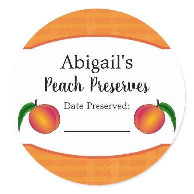 Round Canning Sticker Peach Fruit