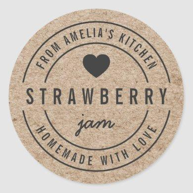 Rustic Faux Kraft From Kitchen Homemade with Love Classic Round Sticker