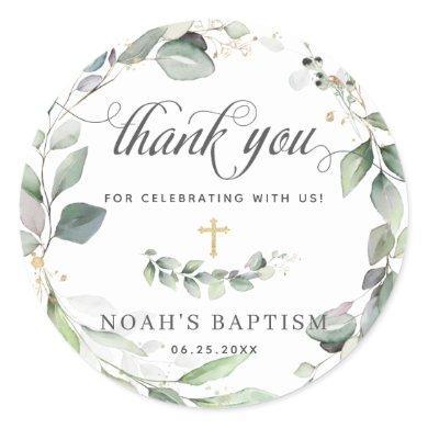 Rustic Greenery Foliage Gold Baptism Thank You Classic Round Sticker