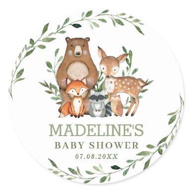 Rustic Greenery Woodland Animals Baby Shower Favor Classic Round Sticker