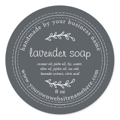 Rustic Handmade Lavender Soap Black Classic Round Sticker