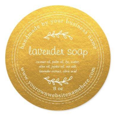 Rustic Handmade Lavender Soap Gold Classic Round Sticker