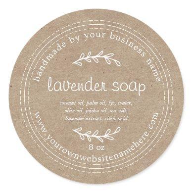 Rustic Handmade Lavender Soap Kraft Paper Classic Round Sticker