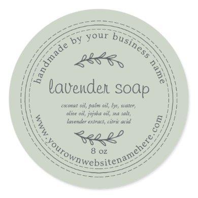 Rustic Handmade Lavender Soap Pastel Green Classic Round Sticker