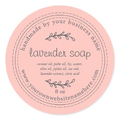 Rustic Handmade Lavender Soap Pink Classic Round Sticker