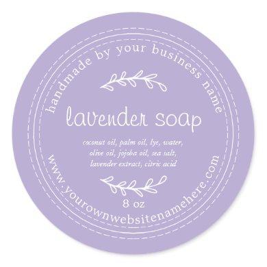 Rustic Handmade Lavender Soap Purple Classic Round Sticker