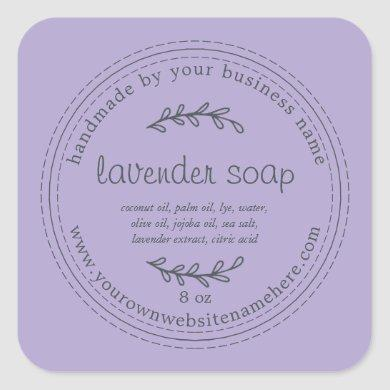 Rustic Handmade Lavender Soap Purple Square Sticker