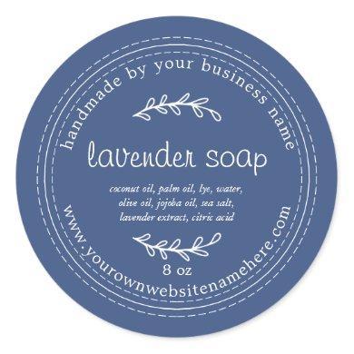 Rustic Handmade Lavender Soap True Blue Classic Round Sticker