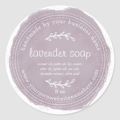 Rustic Handmade Lavender Soap Watercolor Purple Classic Round Sticker