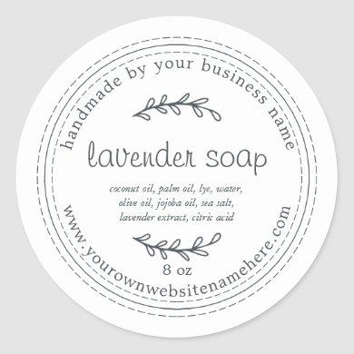 Rustic Handmade Lavender Soap White Classic Round Sticker