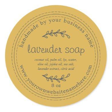 Rustic Handmade Lavender Soap Yellow Classic Round Sticker