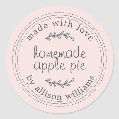 Rustic Homemade Baked Goods Apple Pie Pink Classic Round Sticker