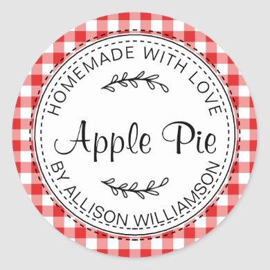Rustic Homemade Baked Goods Apple Pie Red Check Classic Round Sticker