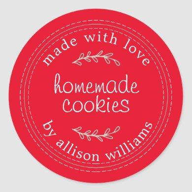 Rustic Homemade Baked Goods Cookies Red Classic Round Sticker