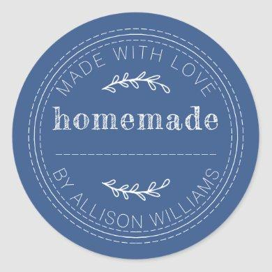 Rustic Homemade Baked Goods Jam Can Classic Blue Classic Round Sticker