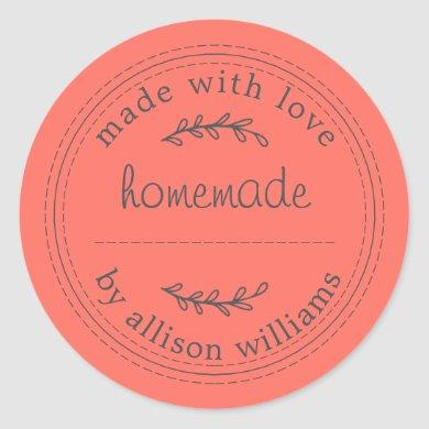 Rustic Homemade Baked Goods Jam Can Coral Classic Round Sticker