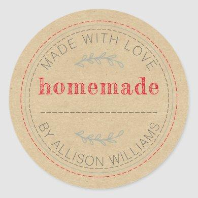 Rustic Homemade Baked Goods Jam Can Kraft Paper Classic Round Sticker