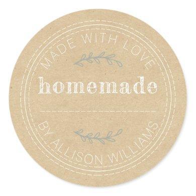 Rustic Homemade Baked Goods Jam Can Kraft Paper Classic Round Sticker
