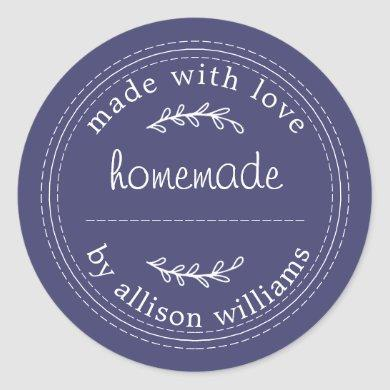 Rustic Homemade Baked Goods Jam Can Navy Blue Classic Round Sticker
