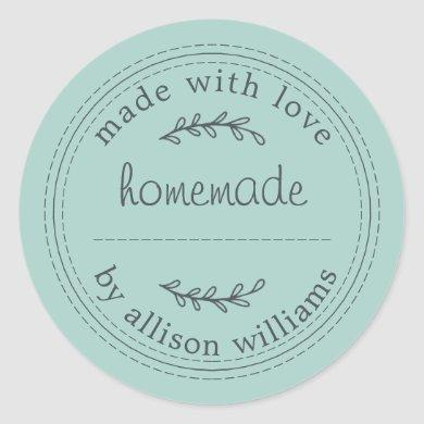 Rustic Homemade Baked Goods Jam Can Pastel Blue Classic Round Sticker
