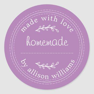 Rustic Homemade Baked Goods Jam Can Purple Classic Round Sticker
