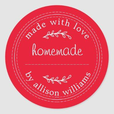 Rustic Homemade Baked Goods Jam Can Red Classic Round Sticker
