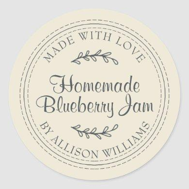 Rustic Homemade Blueberry Jam Can Antique White Classic Round Sticker